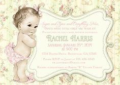 Shabby Chic cumpleaños Vintage Floral o invitación ducha bebé niña - Rosa suave y verde - bricolaje imprimible