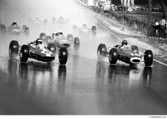 1964 Solitude, Stuttgart - Jim Clark (Lotus #6 - 1st), John Surtees (Ferrari #20 - 2nd) and Graham Hill (BRM #14 - Accident) (Photo: www.broooom.com)