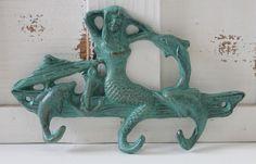 Iron Triple Mermaid & Dolphin Key Hook #mermaid, #dolphins, #castiron