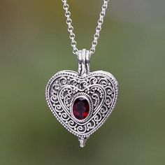 Garnet locket necklace 'Always in my Heart' - Garnet and Sterling Silver Heart Shaped Locket Necklace
