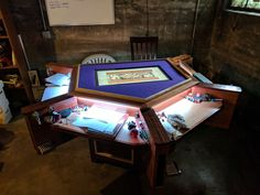 [OC] My group's gaming table. <br> Post with 0 votes and 184592 views. [OC] My group's gaming table. Board Game Table, Board Games, Game Tables, Tabletop Rpg, Tabletop Games, Gaming Table Diy, Gaming Setup, Dnd Table, Gaming Furniture
