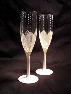 Wedding Glasses Hand Painted Champagne Flutes White Flower