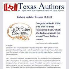 Texas Authors Members continue to win big in other contests around the country. Learn more in this issued of the Authors Updates Authors, Texas, Writing, Learning, Country, Big, Books, Livros, Rural Area