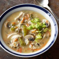 Wild Rice & Chicken Soup (Slow Cooker)--Mix a can of cream of chicken soup, mushrooms, veggies and rice mix for the soup base. Any boneless cooked chicken works in this recipe, but chicken thighs, with more moisture from fat, slow-cook the best.