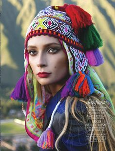 Princess Inca – Tiiu Kuik travels to mountainous regions of Peru for August edition of Vogue Latin America. Photographed by Michael Filonow and styled by Lauri… Steam Punk, Estilo Folk, Moda Peru, Look Festival, Peruvian Textiles, Winter Typ, Vogue Mexico, We Are The World, Ethnic Fashion