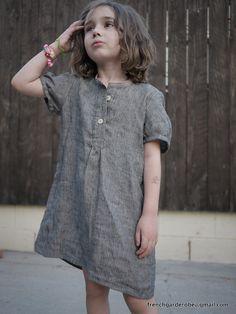 Back to school French blouse, dark grey linen, white stripes