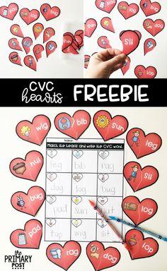 CVC Words Heart Matching FREEBIE