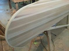 Finished sanding on the hull, and she's ready for glass.