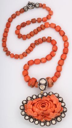 Jewelry Diamond : Carved Coral & Diamond Necklace - Buy Me Diamond Coral Jewelry, Diamond Jewelry, Fine Jewelry, Heart Pendant Necklace, Beaded Necklace, Beaded Bracelets, Charm Necklaces, Beaded Jewellery, Fashion Jewellery