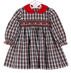 cf490c7f6f2 Petit Bebe by Anavini Red Plaid Smocked Dress with Red Corduroy Collar