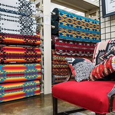 We are the Pendleton fabric and crafting store! Stop by and visit us to see all our fabric, mill ends, crafting supplies and Pendleton goods. Reupholster Furniture, Chair Upholstery, Upholstered Furniture, Pendleton Fabric, Ranch Decor, Southwest Decor, Western Furniture, Western Decor, Fabric Decor