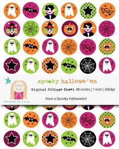 ♥ BUY 3 GET 1 FREE ♥ Halloween Digital Collage Sheet | Bottle Cap | Cupcake Topper by DreamingOnAStar, $3.20