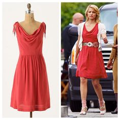 Anthropologie Tied Down Dress Coral