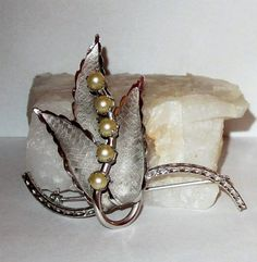 Bond Boyd Sterling Leaves and Pearls Brooch by letsreminisce