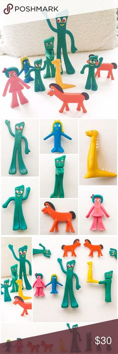 GUMBY & Friends Vintage Mini Superflexibles (9) Super cute retro fun! Great for display, adding to your collection or just using your imagination with these cute figures.  Also makes a great gift idea or stocking stuffer for Christmas!   TrendMasters Gumby & Friends  Vintage Miniature Superflexibles Bendables.  3 - Gumbys 2 - Pokeys Blockhead Minga Prickle  Goo TrendMasters Other