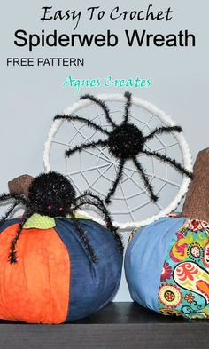Spiderweb Wreath Free Crochet Pattern - Agnes Creates Beginner Crochet, Crochet For Beginners, Free Crochet, Halloween Front Door Decorations, Spider Decorations, Easy Crochet Patterns, Knitting Patterns, Free Spider, Invitation