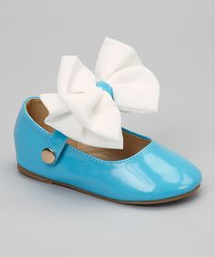 Take a look at the QQ Girl Blue & White Patent Bow Mary Jane on #zulily today!