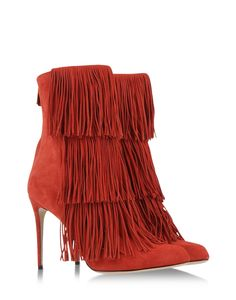 """Paul Andrew's High Heel Fringe Bootie  """"Taos"""" #Red Suede Shoes Trend Fashion New Arrivals"""