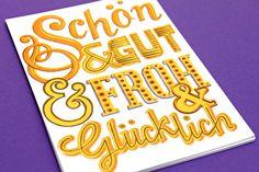 """Hand-Lettering-Weihnachtskarte mit dem Text """"Schön & Gut & Froh & Glücklich"""""""