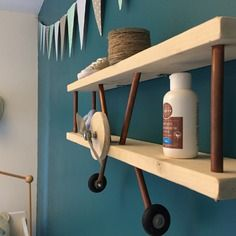 Cute airplane shelf for boys room Baby Room Diy, Baby Bedroom, Nursery Room, Kids Bedroom, Baby Nursery Themes, Baby Decor, Kids Decor, Aviation Decor, Diy Pallet Bed