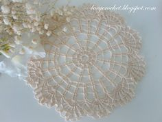 Small Doily in Cream Color - Lacy Crochet free pattern