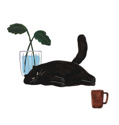 Cool painting of a black cat just lying around Art And Illustration, Cat Illustrations, Crazy Cats, Cat Art, Art Inspo, Cute Cats, Neko, Sketches, Kitty