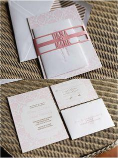 Girly, blush pink letterpress wedding invitations with custom die-cut belly band by honeycrisp design studio.