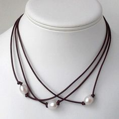 Freshwater Pearl and Leather Necklace, Leather and Pearl Necklace by CraftLikeAnArtist on Etsy