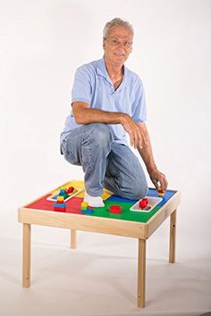 Amazon.com: Lego Compatible Table-MADE IN THE USA!! Preassembled-Solid Hardwood Legs and Side Frames-BUILT TO LAST: Toys & Games