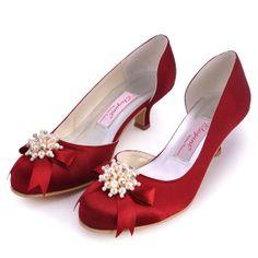 New Brand Design Pumps Burgundy Round Toe Platform Spool Heel Pearls Rhinestone Satin Prom High Heel Shoes Wedding Shoes Bridal Shoes