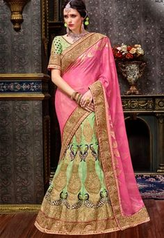 Shop pink,green silk bridal indian lehenga saree , freeshipping all over the world , Item code Lehenga Style Saree, Indian Lehenga, Green Silk, Pink And Green, Middle Eastern Fashion, Lehenga Designs, India Fashion, New Trends, Canada