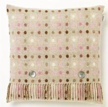 Bronte Spot Check Beige and Pastel Wool Cushion