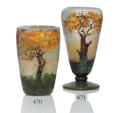 Daum - Vitrified Cameo Glass 'Landscape' Vase, circa 1906 9 in. (22.9 cm.) high signed in intaglio Daum Nancy with Cross of Lorraine (right vase) - Pinhas Collection - USD 19.200