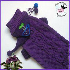 """Купить Свитер для собаки """"Мухомор"""" - тёмно-фиолетовый, Свитер для собак, одежда для собак, одежда для такс"""