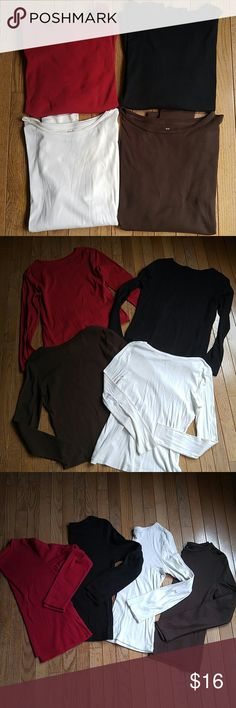 Bundle Talbots Long Sleeve Tees Bundle of four long sleeve tees from Talbots, red, ivory, black, and brown. All size small. Gently worn, overall good condition. Flaws pictured on ivory top. Selling because they are too big! Talbots Tops Tees - Long Sleeve