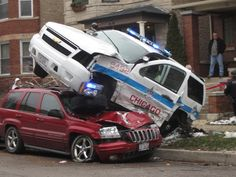 A Chicago police SUV rests on top of a car after a crash near the intersection of George Street and Sacramento Avenue on Dec. Old Police Cars, Local Police, Emergency Vehicles, Police Vehicles, Detroit History, Police Life, Chevrolet Tahoe, Fire Trucks, Cars