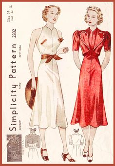 1930s 30s Vintage Sewing Pattern dress heart by LadyMarloweStudios