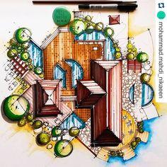 Resultado de imagem para croqui arquitetura colorido
