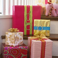 Christmas holiday gift wrapping ideas... glitz, glamour and bling...