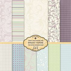 Dreamy Digital Papers for scrapbooking card by TracyAnnDigitalArt, $4.95