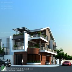 biet thu lo goc 3 tang Contemporary House Plans, Modern House Design, Corner House, Fantasy House, House Elevation, Tropical Houses, Apartment Design, Home Fashion, Building Design