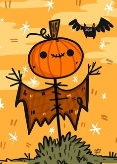 Scarecrow Illustration for Halloween Lovers   Halloween Art   Halloween Illustration