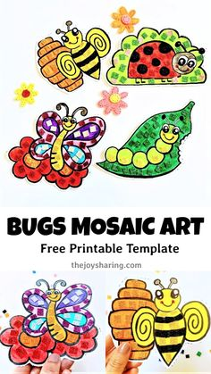 Isn't it a cute activity for spring? Children will enjoy making these cute insect mosaic art and displaying them in their room. Easy Art Projects, Craft Projects For Kids, Crafts For Kids To Make, Art For Kids, Kids Crafts, Easy Mosaic, Mosaic Art, Fun Activities For Toddlers, Art Activities
