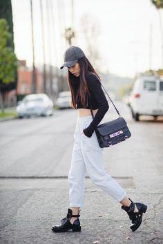 Finders Keepers joggers, Zara crop top, Balenciaga cutout boots, H&M wool cap, Proenza Schouler PS11 bag