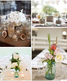 Flowers in jam jars - with or without twine