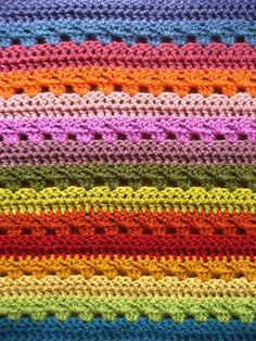 Lucy's (Attic24) Cosy Stripe Blanket. Crochet along link: http://attic24.typepad.com/weblog/cal/