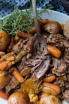 This slow cooker pot roast is easy to prepare, and you can have it ready to go in the slow cooker in under 10 minutes.  This is perfect for busy parents, and people with long days.