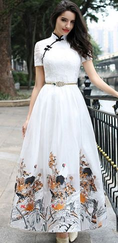 Vintage Embroidery Improved Cheongsam Maxi Dress