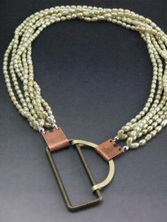 "Industrial Charm ""Clasp on Pearl Multi-Strand Necklace, 18"" by WILLYjewelry"