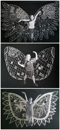 June 2015: Inspired by New York Artist Kelsey Montague's 'What Lift's You' wing murals. Silver pen on black. Maybe something for https://Addgeeks.com ?
